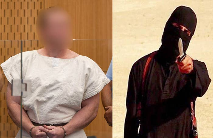 Left: The Christchurch gunman. Right: A file photo of Jihadi John.