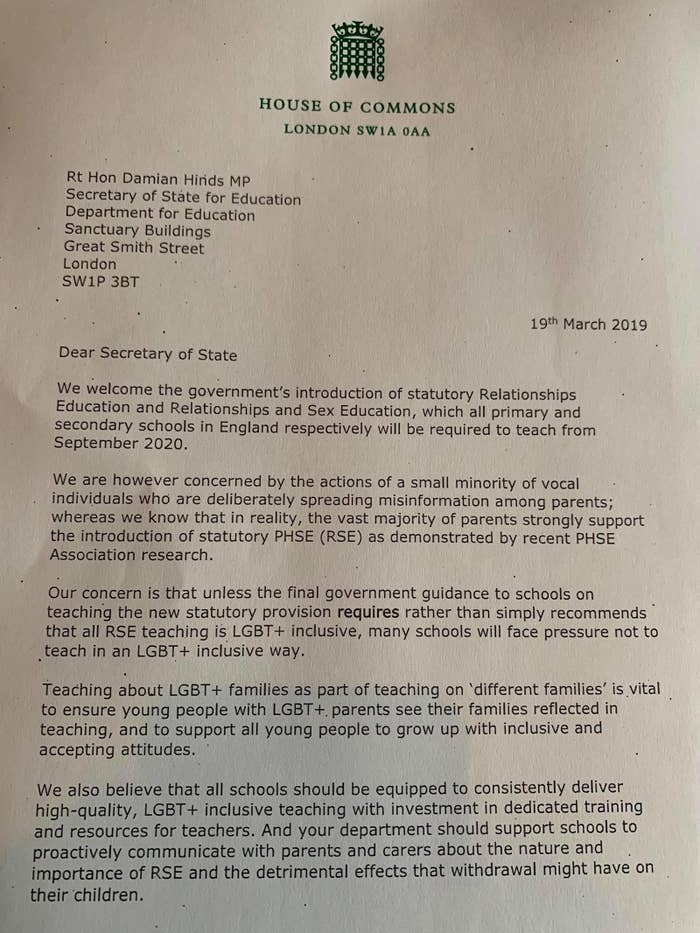 Dozens Of MPs Have Signed A Letter Calling For LGBT