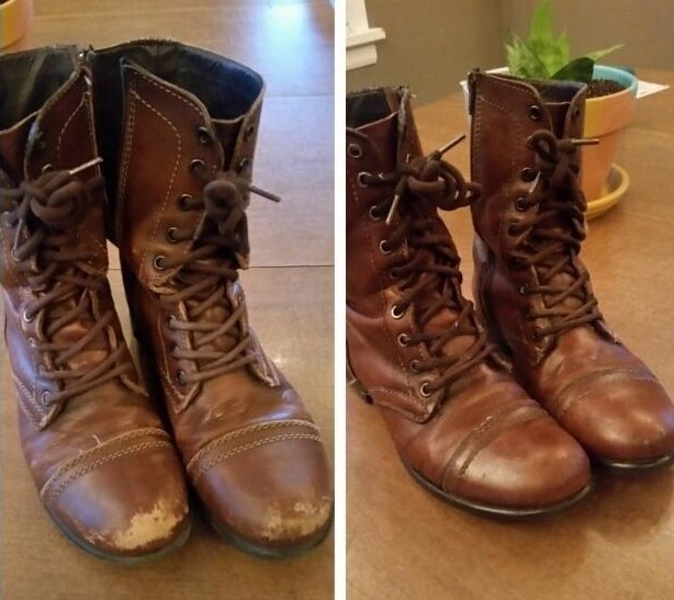 a photo set displaying a reviewer's boots before and after being cleaned with the mink oil