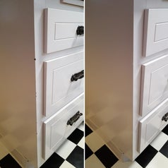 a before and after shot displaying a reviewer's drawers after being treated with the touch-up paint