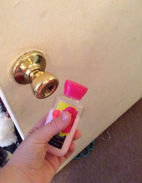 To play it safe, put the lotion on the outside of the door so your kid can't get in. But you can also put it on the inside of their door — giving your kid fits as they try to get out of their room, LOL — if you think they're up for it!