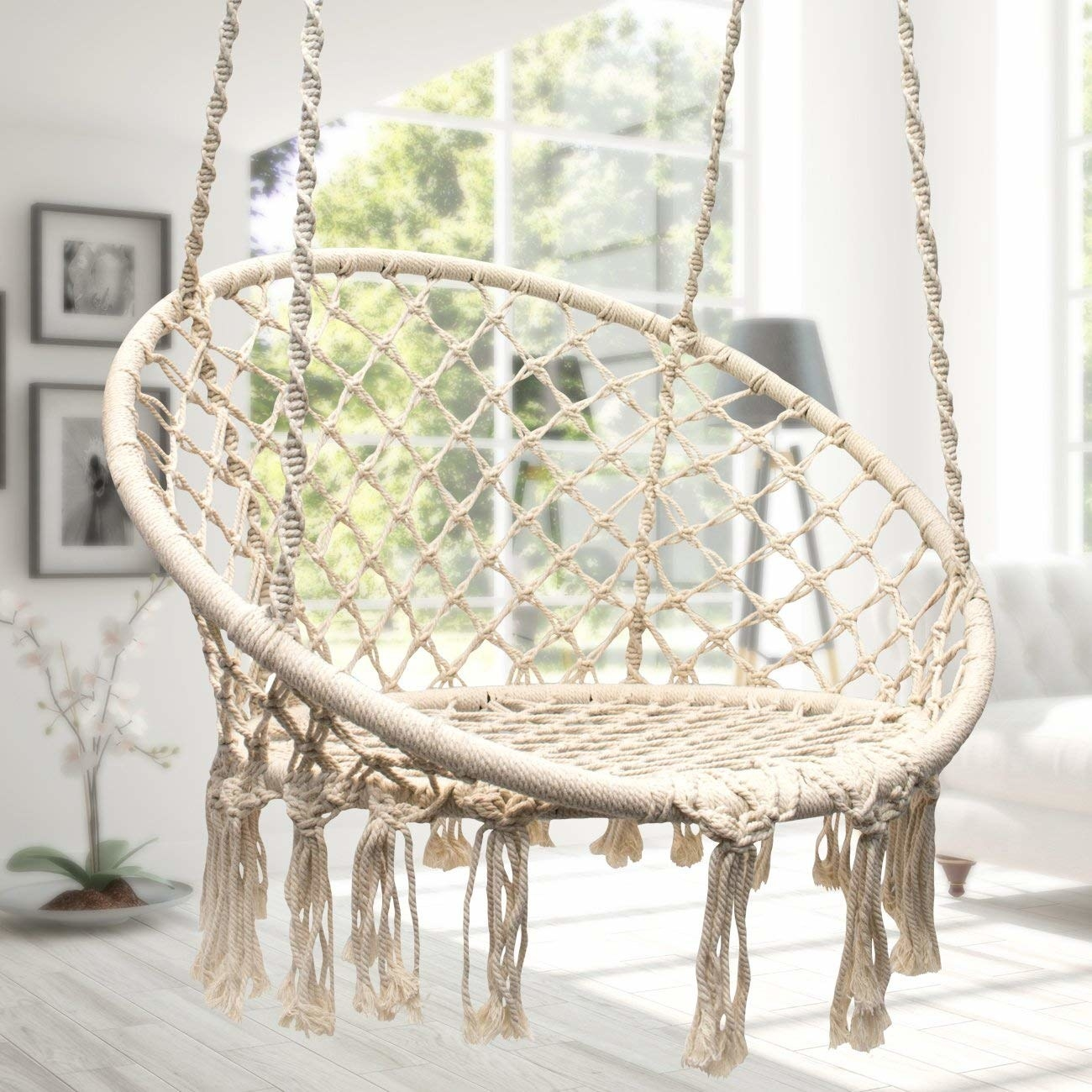 Swing chair hanging in room