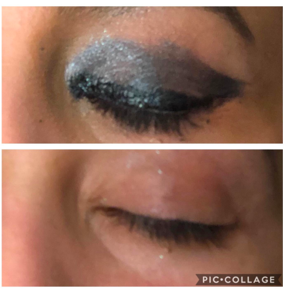 On top, a reviewer's eyelid with gray shadow, liner, and mascara. On the bottom, the same reviewer's eye with the makeup almost entirely removed, with just a few specks of glitter left