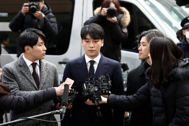 Seungri is seen arriving at the Seoul Metropolitan Police Agency on March 14, 2019.