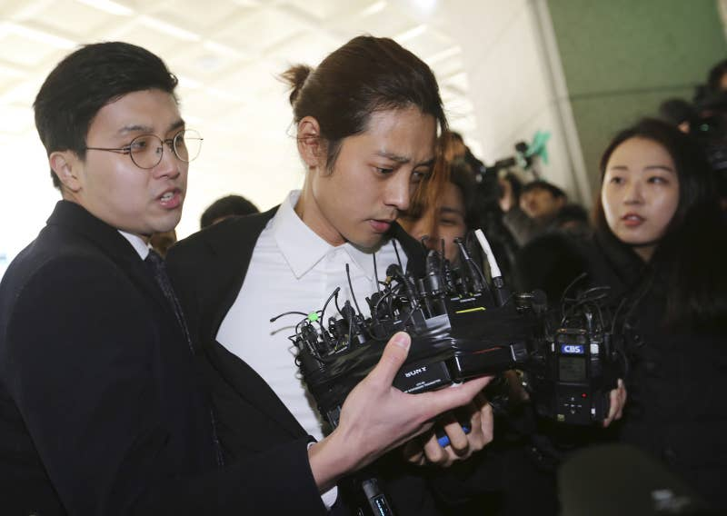 Jung Joon-young arrives at the Seoul Metropolitan Police Agency on March 14, 2019.