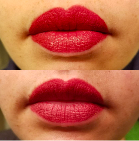 Above, reviewer wearing a red lip. Below, the reviewer wearing the lipstick which is only  slightly faded