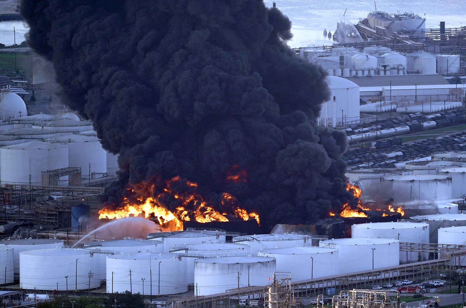 Firefighters battle a petrochemical fire at the Intercontinental Terminals Company in Deer Park, Texas, on March 18.