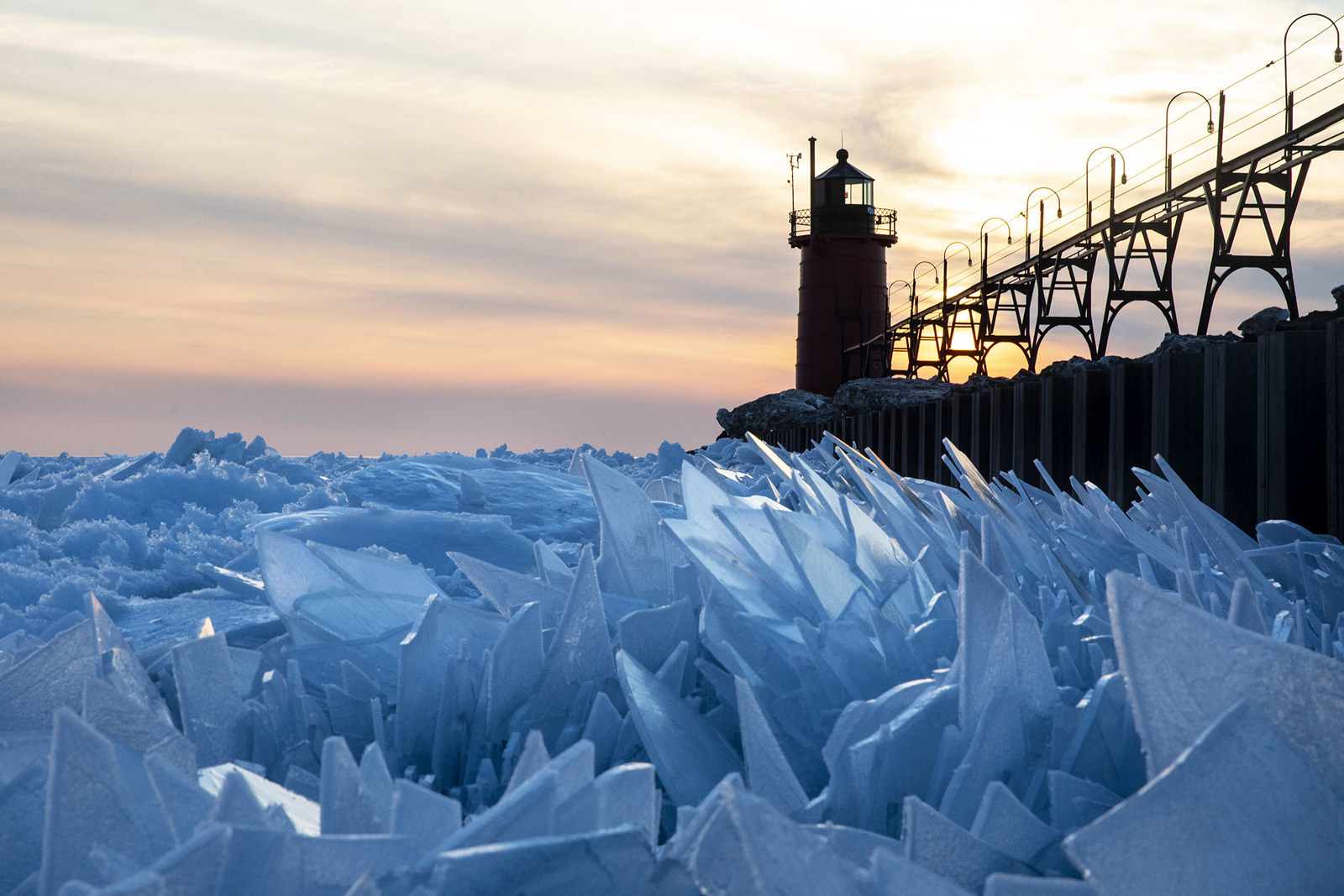 Shards of ice pile up on Lake Michigan along the South Haven Pier in South Haven, Michigan, on March 19.