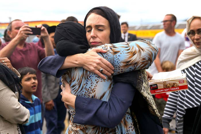 Prime Minister Jacinda Ardern hugs a mosque-goer at the Kilbirnie Mosque in Wellington, New Zealand, on March 17.