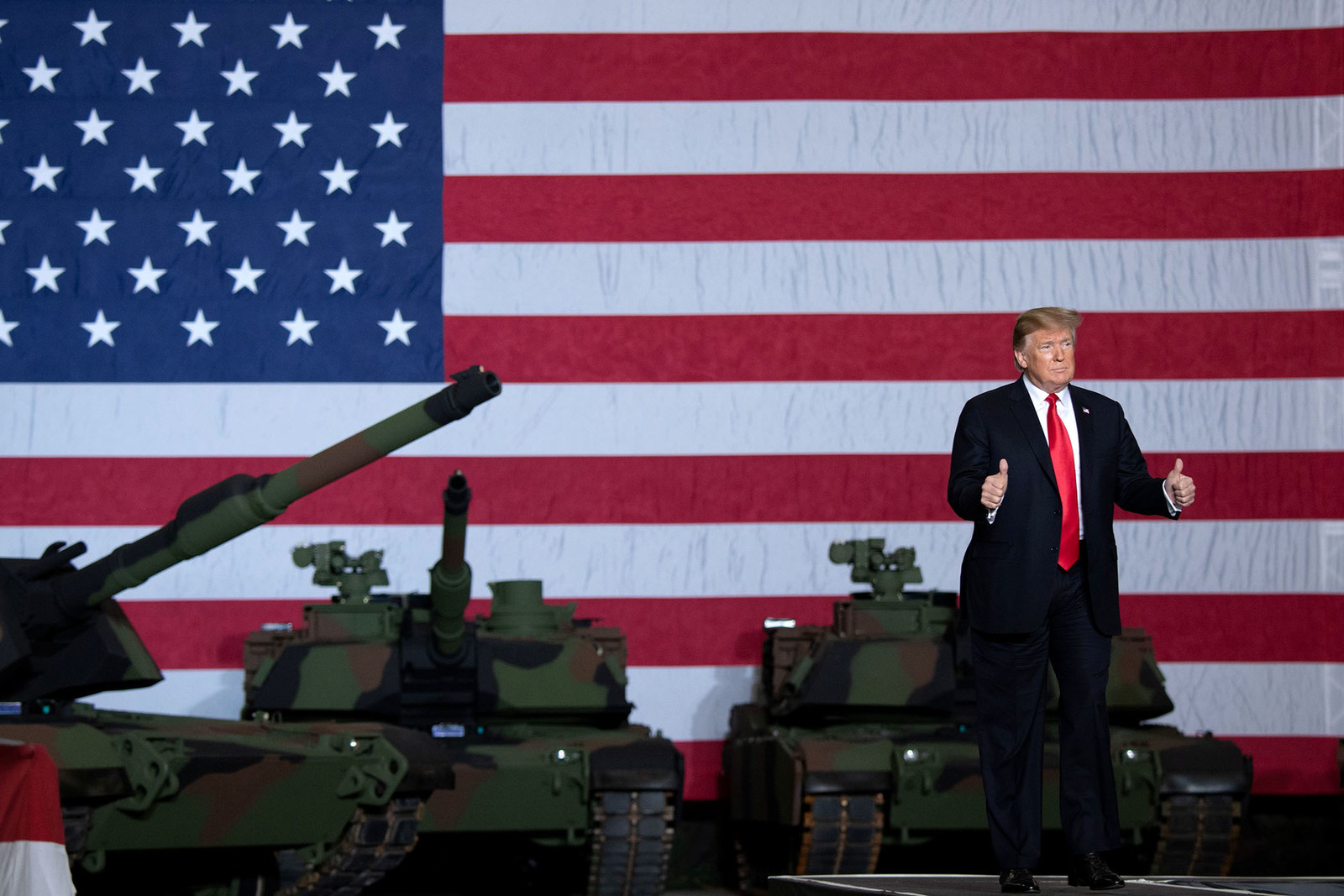 President Donald Trump arrives to speak after touring the Lima Army Tank Plant in Lima, Ohio, on March 20.