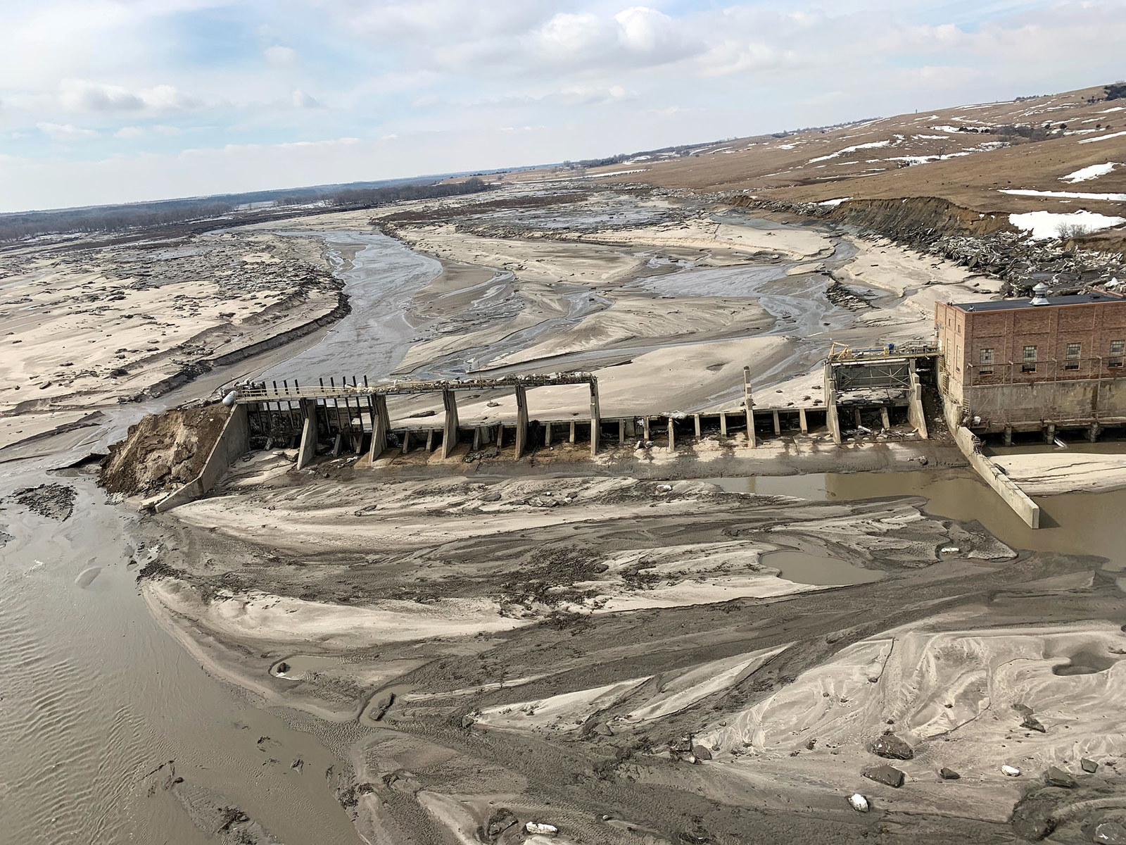 An aerial view of Spencer Dam after a storm triggered historic flooding, near Bristow, Nebraska, on March 16.
