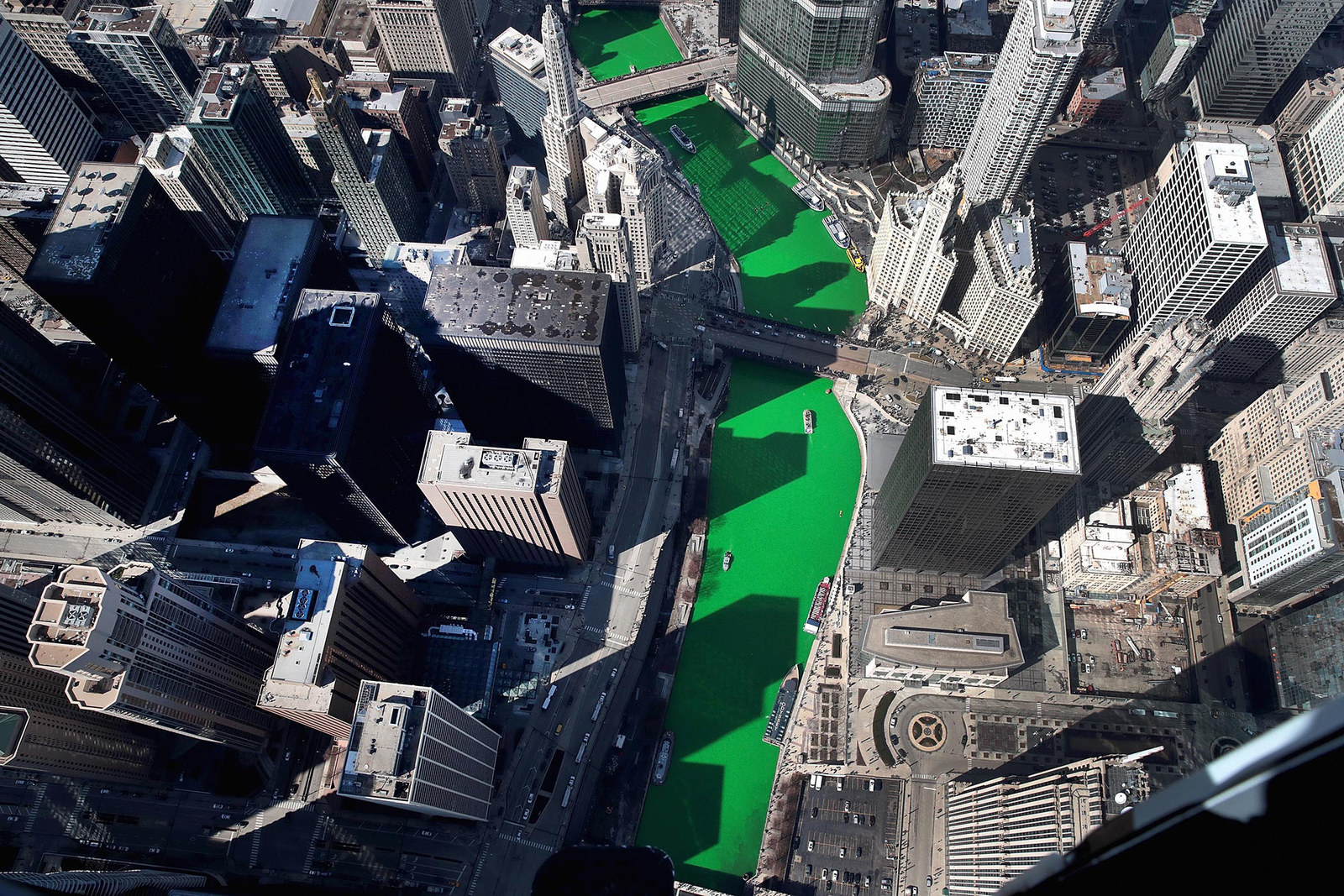 An aerial view of the Chicago River after being dyed green in celebration of St. Patrick's day on March 16, in Chicago.