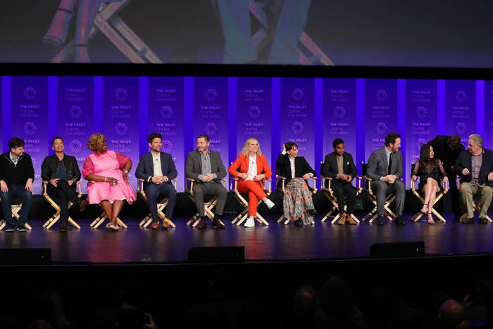 The show's main cast members — Amy Poehler, Nick Offerman, Rashida Jones, Aubrey Plaza, Chris Pratt, Aziz Ansari, Retta, Jim O'Heir, Adam Scott, and Rob Lowe — got together with co-creator Mike Schur to chat about their time on Parks and Rec and even reveal some behind-the-scenes secrets.