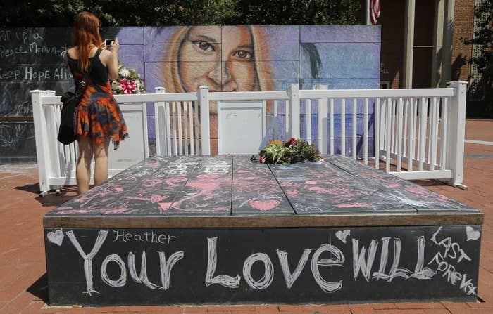 A mural of Heather Heyer, who was killed when a white supremacist plowed his car into a group of peaceful protesters in 2017 in Charlottesville.