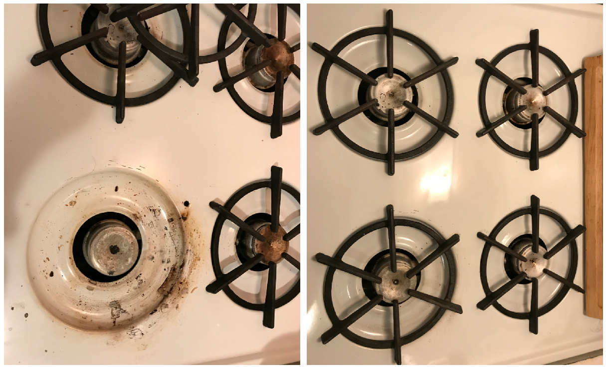 On the left, a stovetop burner with lots of gunk crusted on it. On the right, the same range sparkling clean