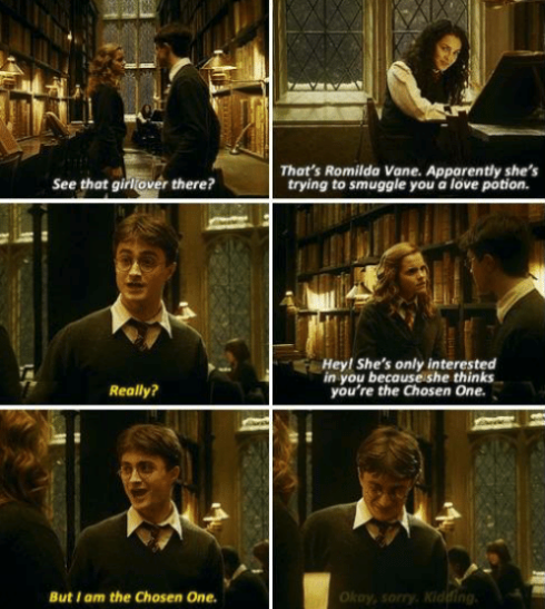 Harry was pretty dumb and wouldn't have lasted 10 seconds without Hermione. He mostly learned from trial and error and made a bunch of deadly mistakes, while Hermione spent the whole time methodically saving him and everyone else.—april-rosek