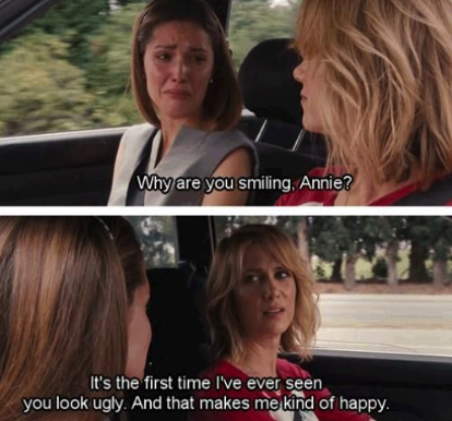 All she does the ENTIRE movie is whine and complain about her extremely fixable problems instead of, I don't know, FIXING THEM. She just bitches about them. Yeah, the movie has its funny parts and Melissa McCarthy's character is incredible, but I cannot watch Bridesmaids because of how horrendous Kristen Wiig's character is.—ktk8895