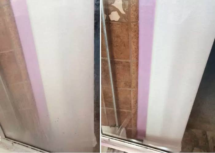 Before: A glass shower door with lots of white hard water buildup covering it; After: the same door, now completely clean, clear, and transparent