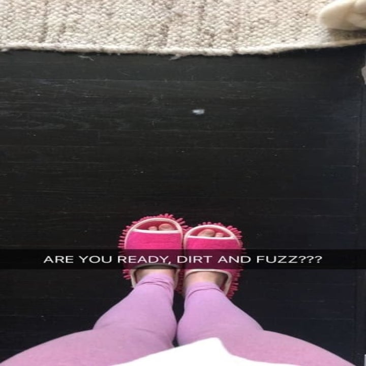"""BuzzFeed editor in the slippers, with the caption """"are you ready, dirt and fuzz?"""""""