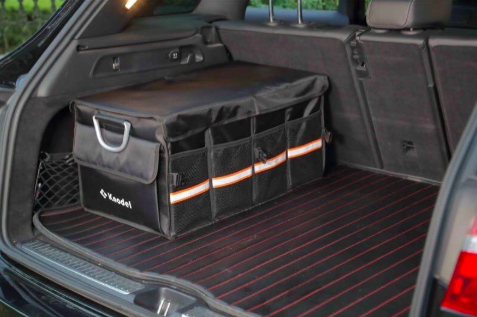 reviewer's SUV trunk with the covered organizer in the back