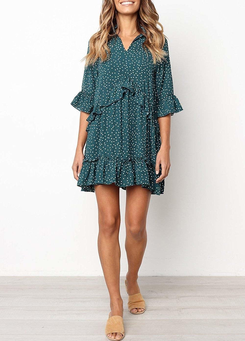 three quarter sleeve mini dress with ruffles and polka dots