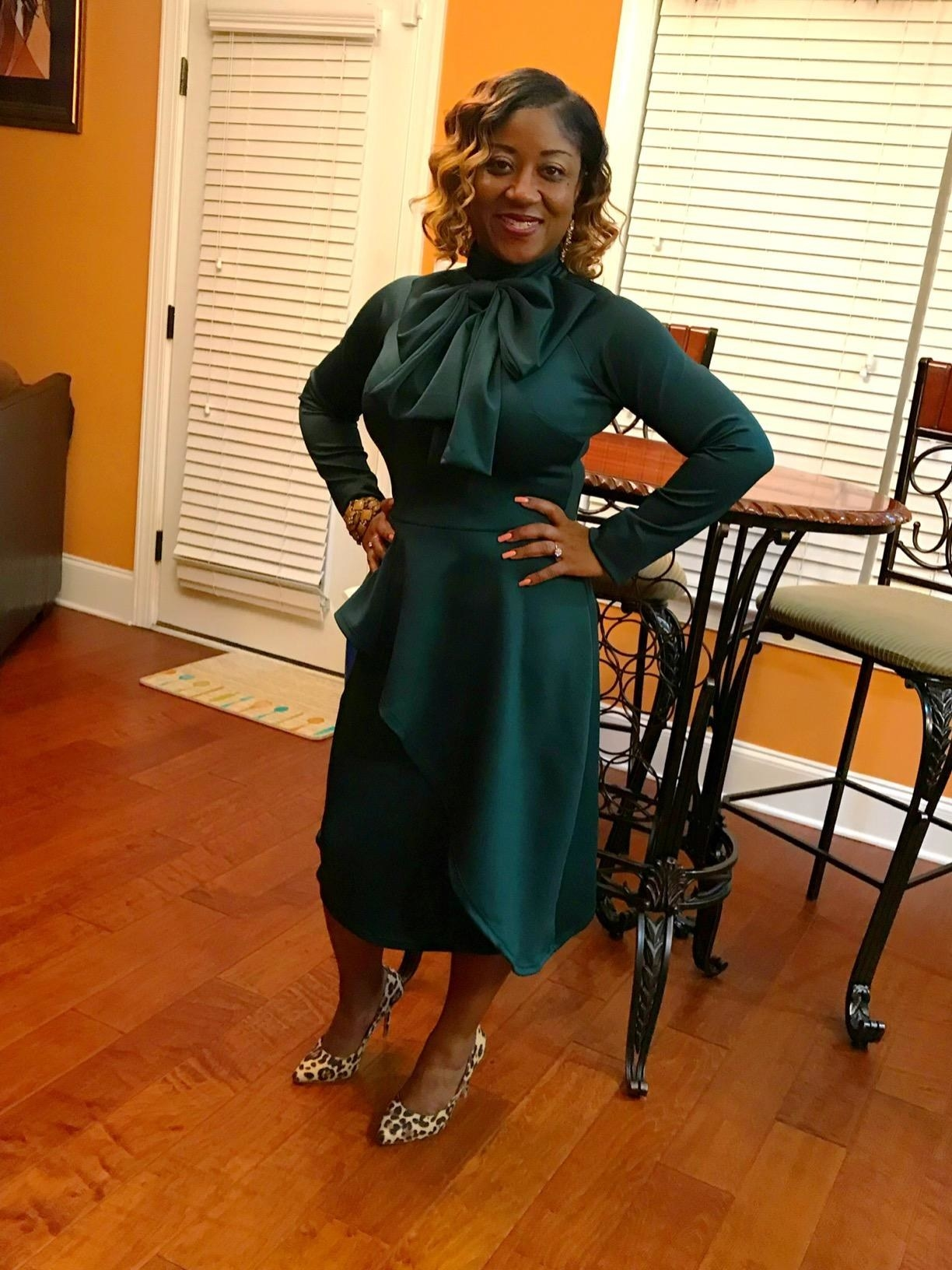 long sleeve dress with tie neck