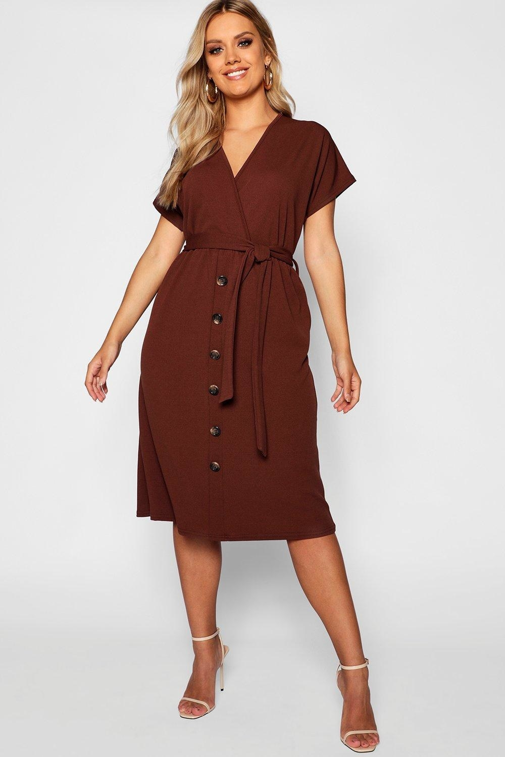 belted midi dress with buttons