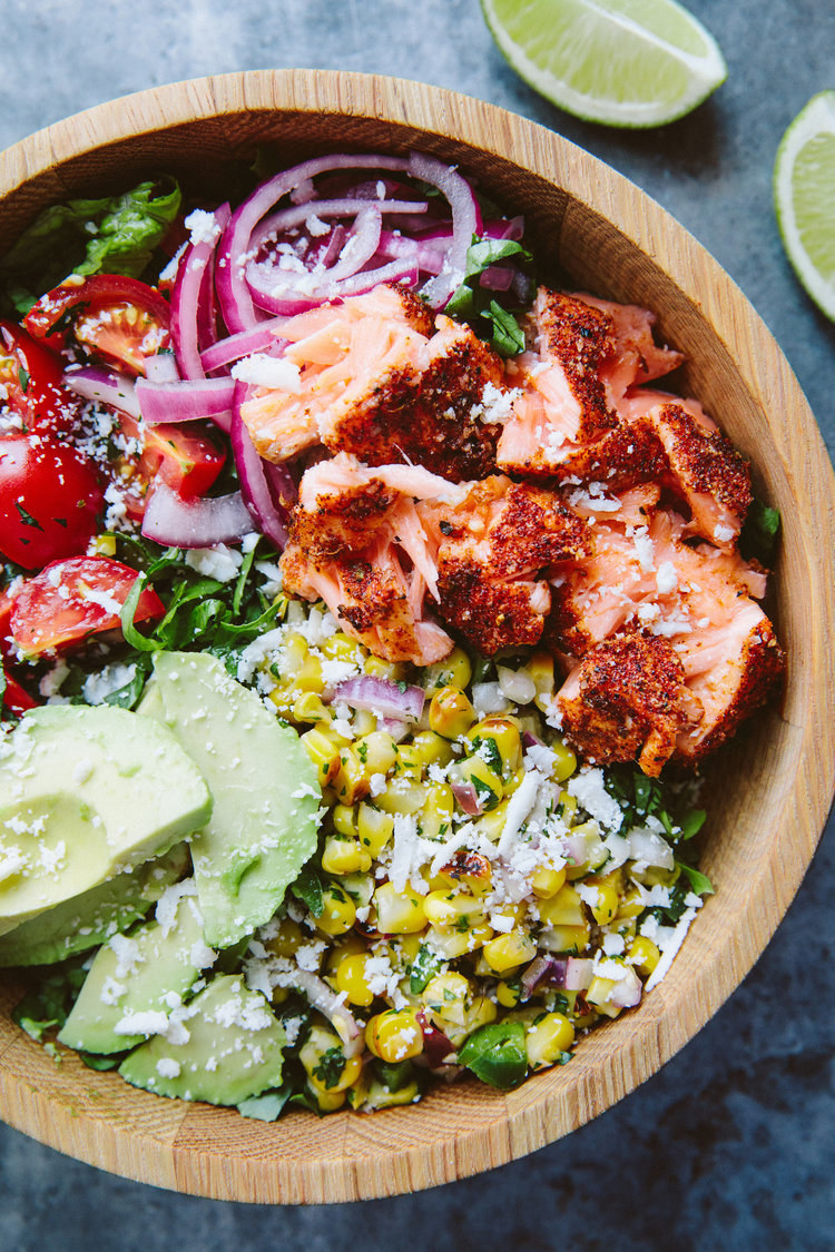 You won't miss the tortilla when you try this roasted salmon burrito bowl, loaded with pickled onions, corn salsa, pico de gallo, avocado, and cheese. Pro tip: To save time while cooking, you can buy most of the salad components pre-made. Get the recipe here.