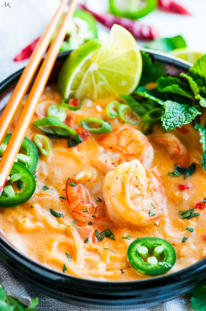 Made with red curry paste, soy sauce, fish sauce, coconut milk, lemongrass, and lime juice, this soup is bursting with flavor. Get the recipe here.