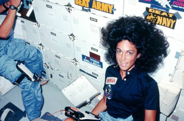 Mission specialist Judith Resnik sends a message to her father from on board the shuttle Discovery on Aug. 30, 1984.