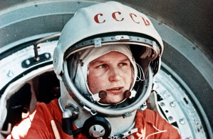 Soviet cosmonaut Valentina Tereshkova, the first woman in space, exits the Vostok capsule in June 1963.