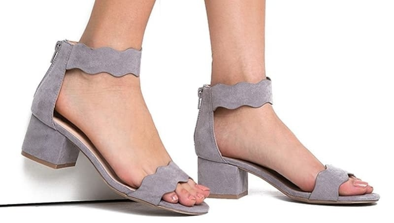 the block-heel sandals with scalloped straps across the toe and around the ankle in lilac