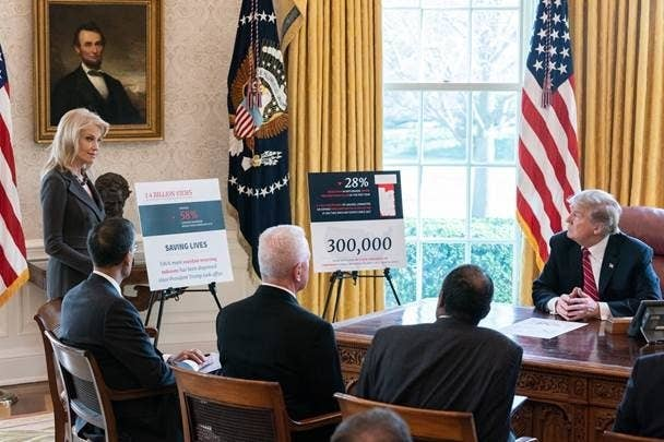 Kellyanne Conway briefs President Trump on the overdose crisis.