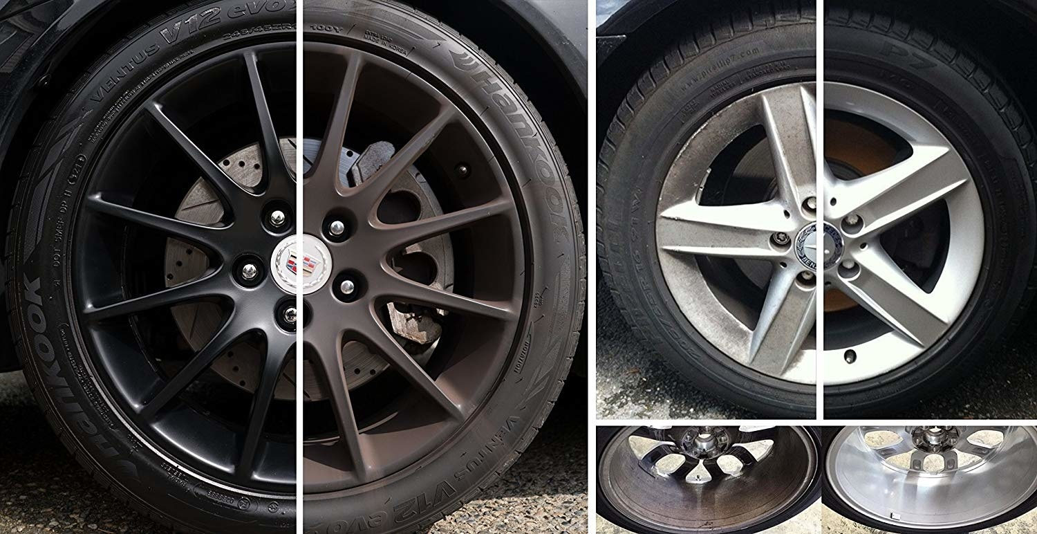 dirty rims and then clean rims thanks to the spray