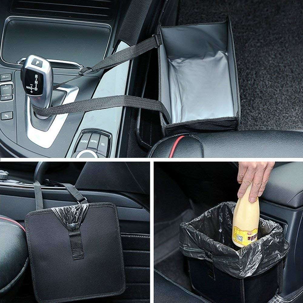 lunch box-sized black car trash can with liner bags