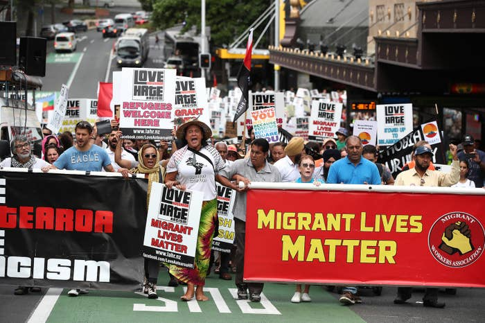 Thousands march against racism on March 24 in Auckland, New Zealand.