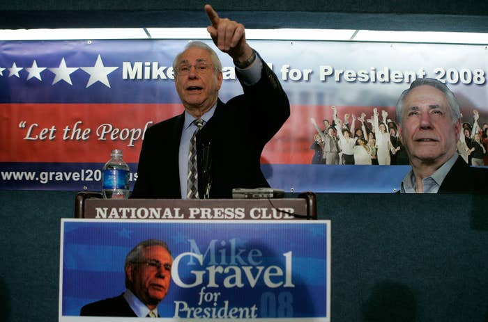 Mike Gravel during his 2008 presidential campaign, May 14, 2007, in Washington, DC.