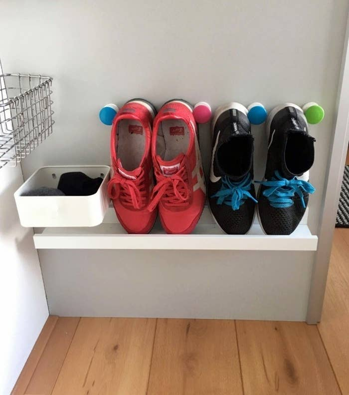 Read more about this tiny space shoe rack hack here.