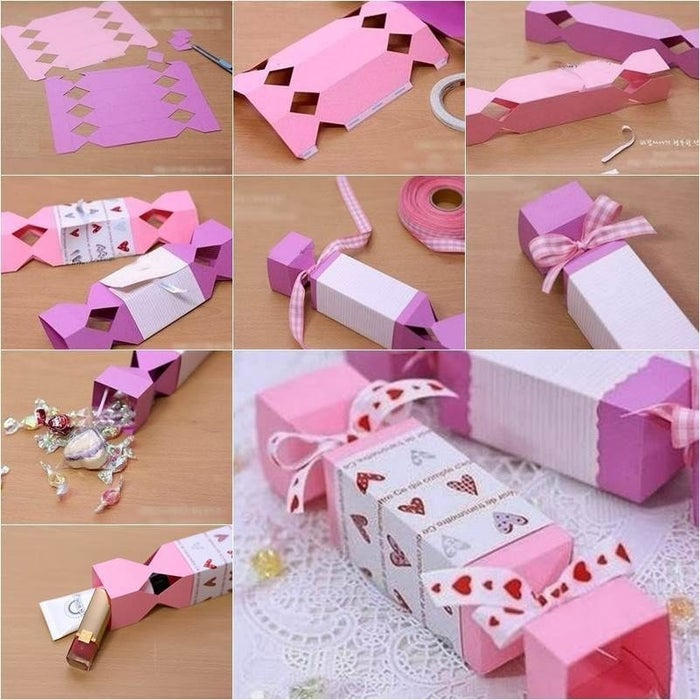 The procedure for creating a candy-shaped box is very simple and fun doing. You need to be a little creative with the things you have. If you want to make a candy-shaped box with the paper then pick up the color paper and with the pencil create a beautiful design on it. You can select a printed paper but in case you want to make your own design then you can create one. Color the design and your paper will look like a painting now. If you want to make a candy-shaped box with the card, you can create a design on the card with the marker. You can copy any design and paste it on the paper or card. Then the next step is the use of scissors. You need to cut the paper according to the size of the candy. With the cutter or scissors create the zigzag shape on its surface. As the edges of the paper or card should look like zigzag or the shape you want. You can give any other your own choice design. But give the design you want on the edges, as it will be clearer.Next step is folding of the paper. Fold the paper or card carefully. You should fold your paper in equal parts and without any wrinkle on it. The edges should be clear and stiff. Now, to fix the paper apply glue or tape. If you are using the card then use the glue but if you are using the paper then the tape is the better choice. Fold your candy paper from all the sides but you should leave a small space open. You candy-shaped box is almost ready now.