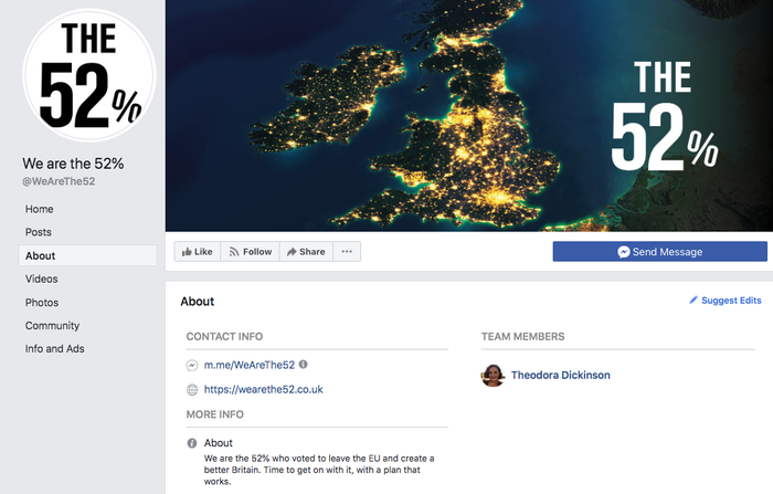 The Facebook page of We Are The 52% has four managers in the UK, but Theodora Dickinson, a young Tory activist, is the only one named.