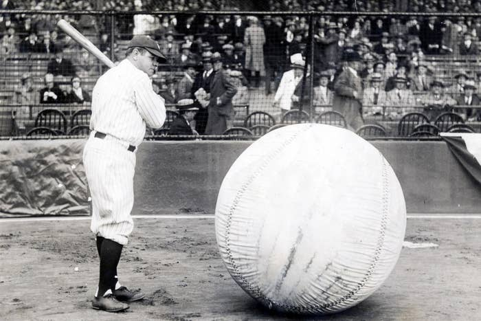 Babe Ruth poses for photographers at Yankee Stadium on April 12, 1927.