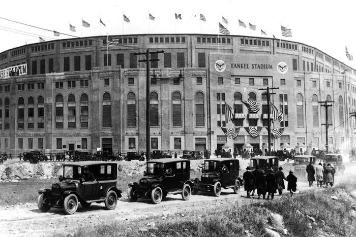 Opening day at Yankee Stadium in the Bronx, New York, on April 18, 1923.