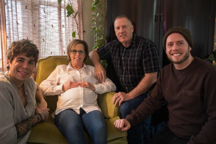 Elliot Dougherty (left) with his mother-in-law, Cecile Eledge, her husband Kirk, and their son, Matthew.