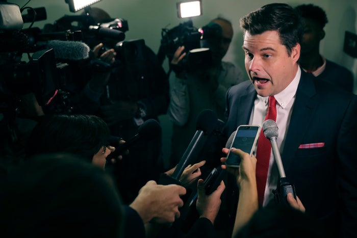 Rep. Matt Gaetz talks with reporters before a closed-door hearing on Capitol Hill, Oct. 19, 2018.