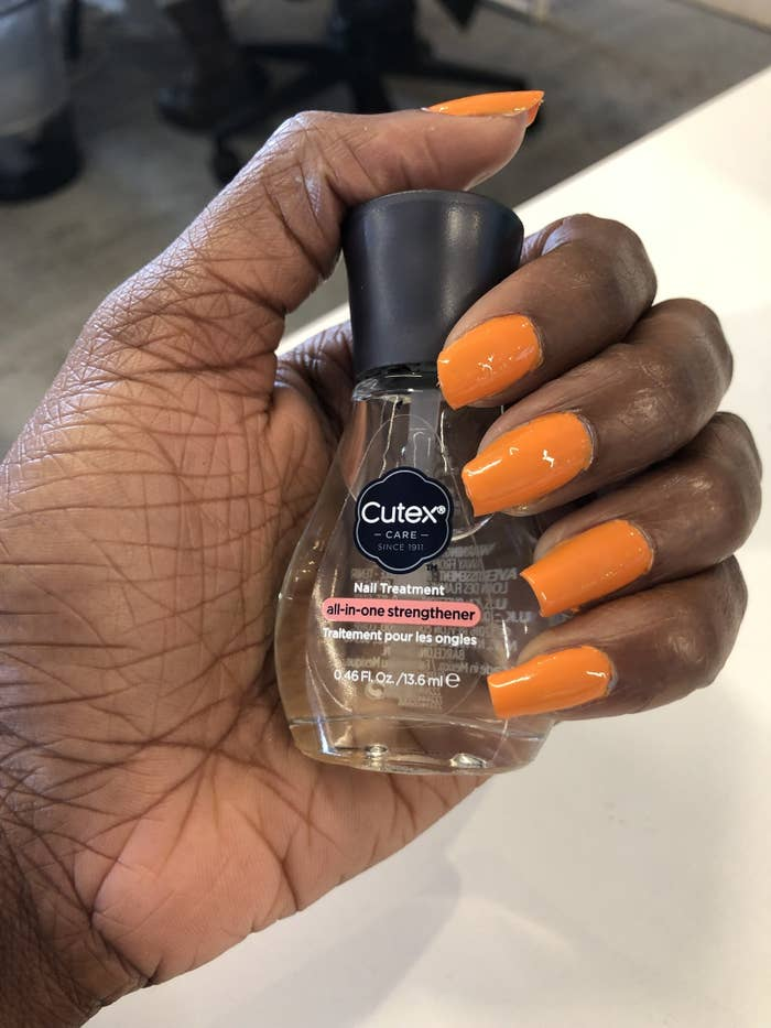 I've been using this for about 3-4 months now and I've totally seen the difference in my nails. My nails usually grow very long (especially on my left hand) but once they get to a certain length, they would chip or break. Now since I've been using this strengthener, not only do my nails not break when they get longer, they also are harder, and my polish lasts longer. Most of the time I use this strengthener as a base coat, but there are times when I use it as a top coat as well. Either way, I've definitely have seen a difference in my nails and I will continue to use this no matter what!Get it from Target for $6.99.