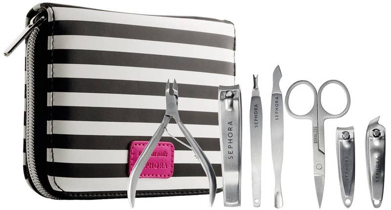 "This product is cruelty-free and includes a cuticle nipper, an angled nail clipper, scissors, a nail clipper, a double-ended cuticle trimmer/pusher, a cuticle trimmer, and a toenail clipper.Promising review: ""Love being able to just toss this in a pocket of my bag and take it to class with me. I get tons of hangnails and find them distracting during classes, so I can just take care of it like that! Has everything you could possibly need."" —SXVVYGet it from Sephora for $20."