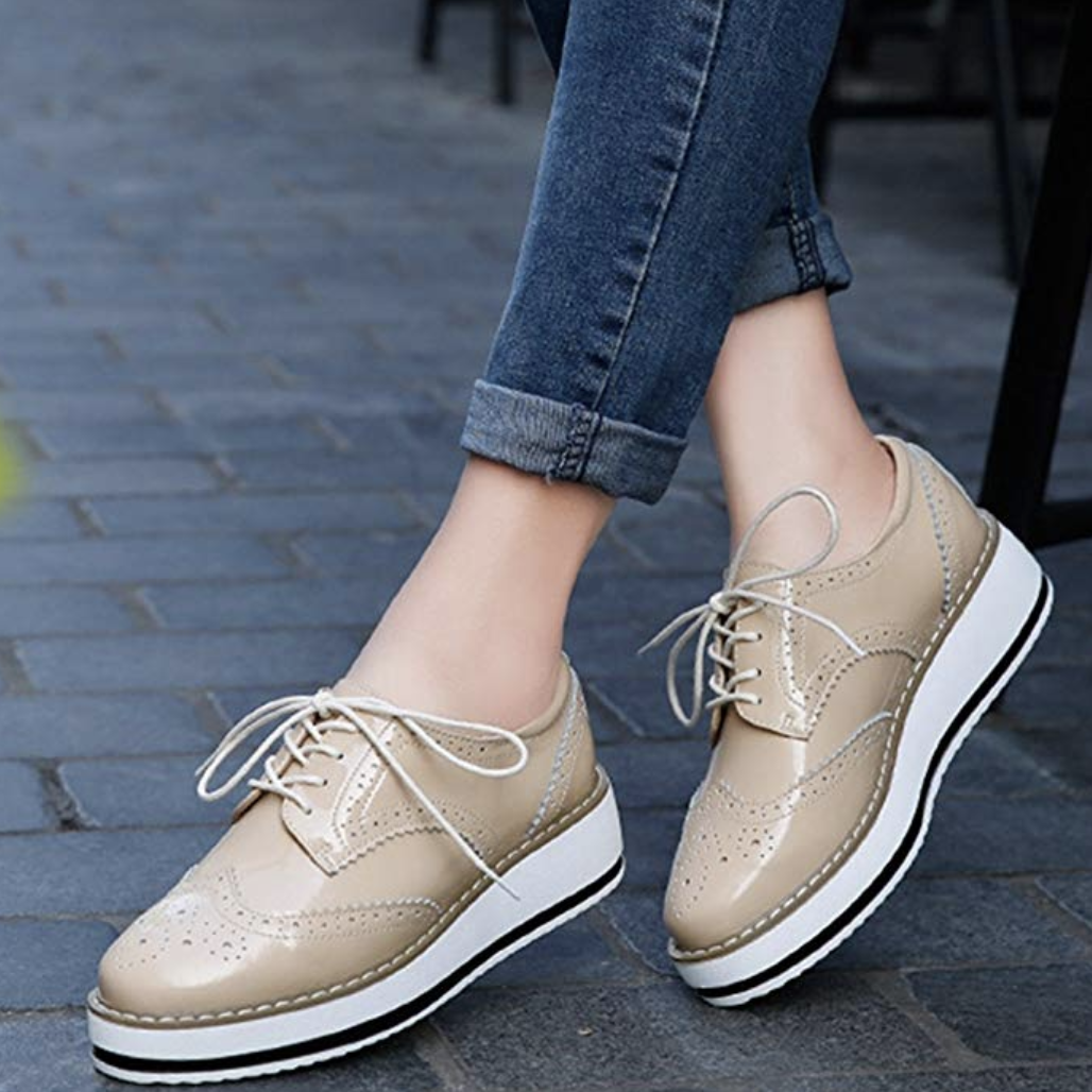 the lace-up platform oxford shoes in beige with white bottom