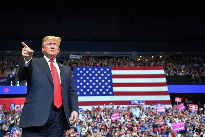 President Donald Trump arrives for the campaign rally in Grand Rapids, Michigan on March 28, 2019.