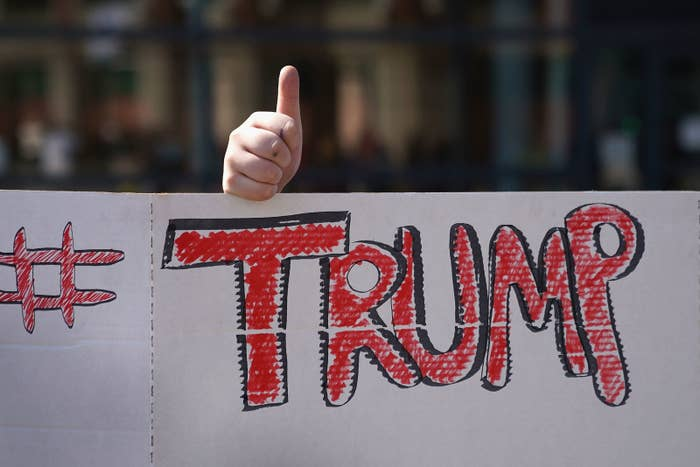 Outside the Van Andel Arena before Trump's rally on March 28, 2019 in Grand Rapids, Michigan.