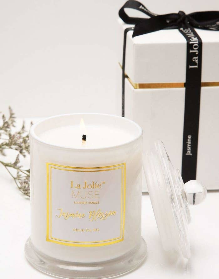 "Promising review: ""This candle smells amazing if you love the smell of jasmine! The jar is lovely and the packaging is gorgeous! Makes a nice gift. I love that it burns evenly so you can utilize all the wax, rather than some candles that just burn down the middle. I bought another scent from this company, too, and am very happy with their products. I'd buy these again and again!"" —RitaPrice: $15.99+ (available in three scents)"